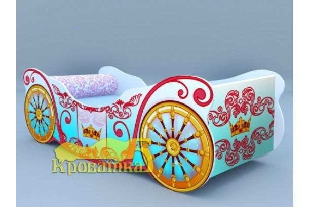 Кроватка карета корона голубая