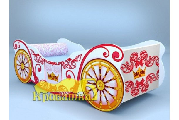 Кроватка карета-корона белая