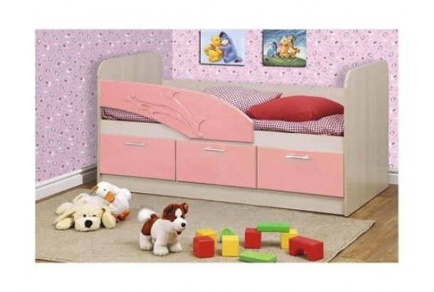 Кровать детская Дельфин 06.222 1600 Розовый металлик