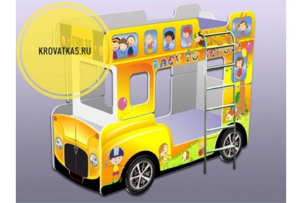 Двухъярусная кровать автобус желтый