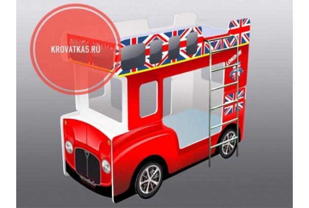 Двухъярусная кровать автобус красный