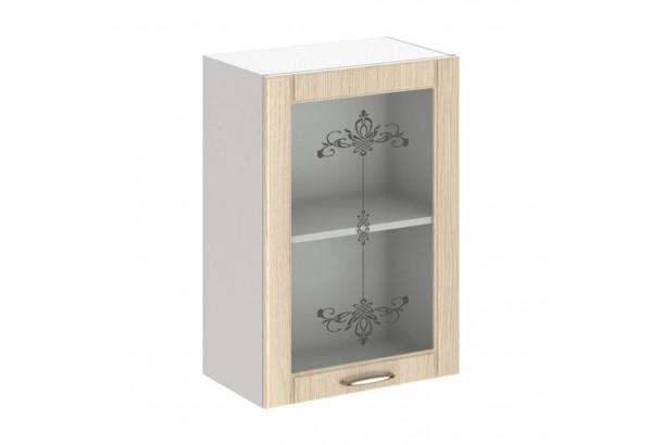 Кантри 5В2 Шкаф настенный 1-дверный со стеклом 500 Светлое Дерево