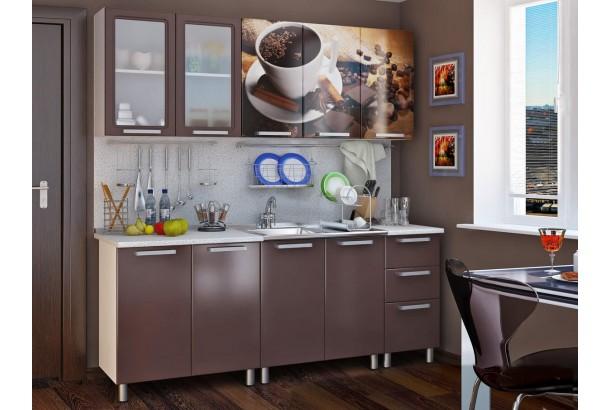 Люкс Шоколад Кухонный гарнитур 2,0м с фотопечатью МДФ Шоколад
