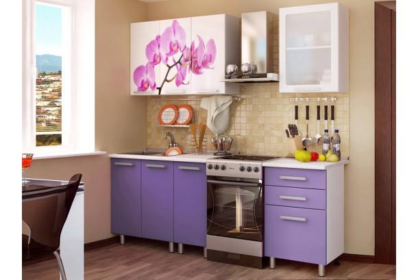 Кухонный гарнитур 1,6м с фотопечатью МДФ Орхидея